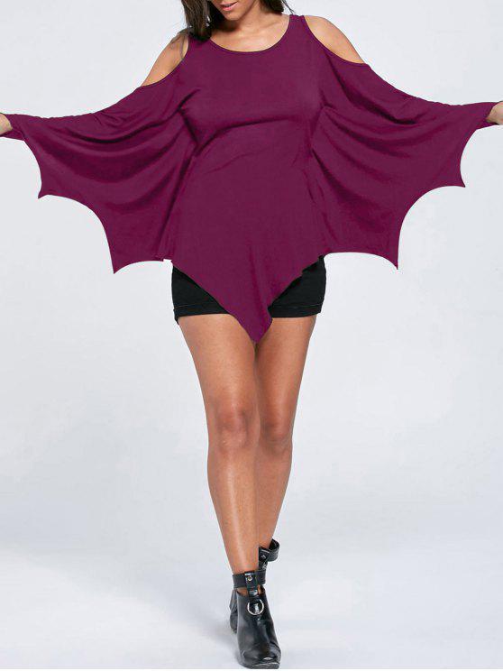 women's Halloween Cold Shoulder Batwing Top - VIOLET ROSE M