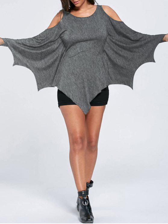 online Halloween Cold Shoulder Batwing Top - HEATHER GRAY M