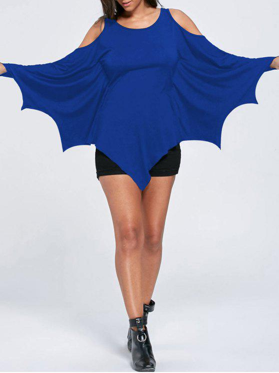 outfits Halloween Cold Shoulder Batwing Top - BLUE M