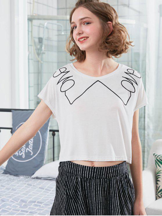 Kontrast gestreifter Schlafanzug - Weiß L