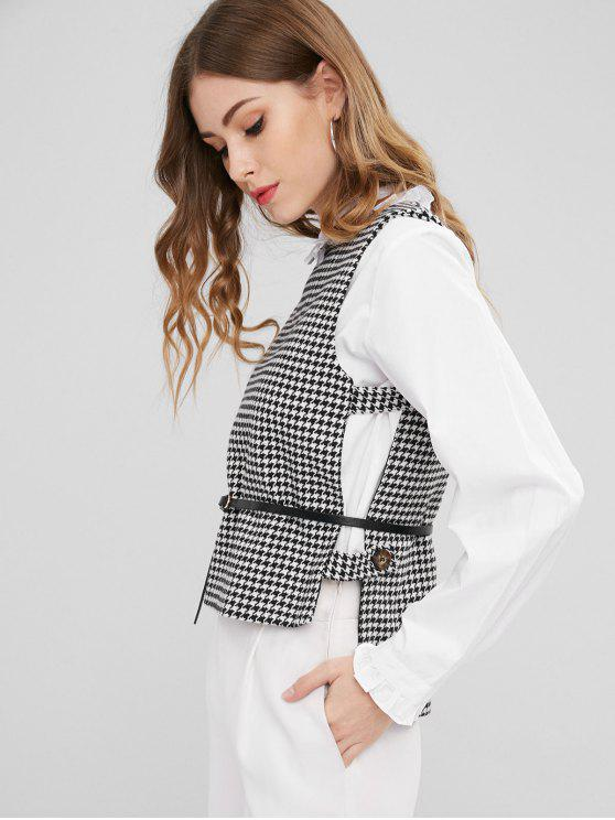 trendy Belted Houndstooth Waistcoat - BLACK ONE SIZE