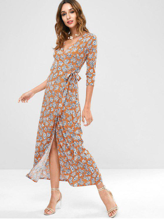 best Flower Wrap Maxi Dress - MULTI XL