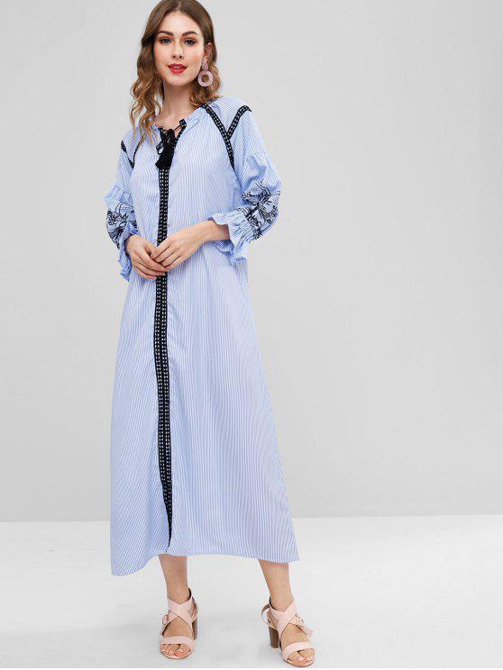 Gestreiftes Crochet Trim Langes Kleid - AZURBLAU XL