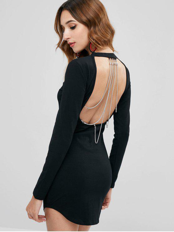 women Long Sleeve Chains Backless Mini Dress - BLACK L
