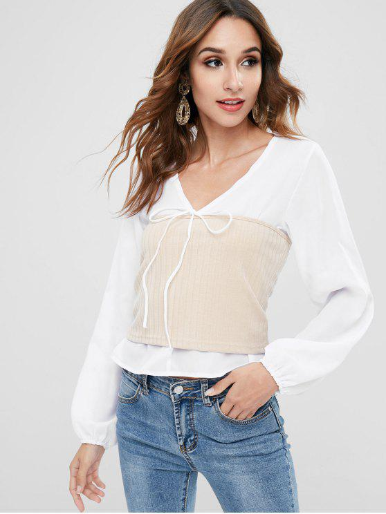 women Puff Sleeve Ribbed Knit Panel Blouse - WHITE M