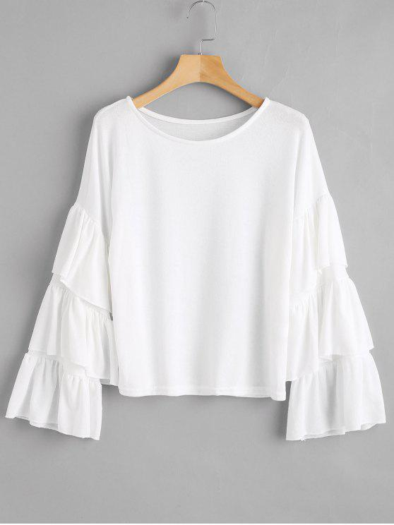 33951247d98ae2 29% OFF] 2019 Tiered Flare Sleeves Blouse In WHITE | ZAFUL