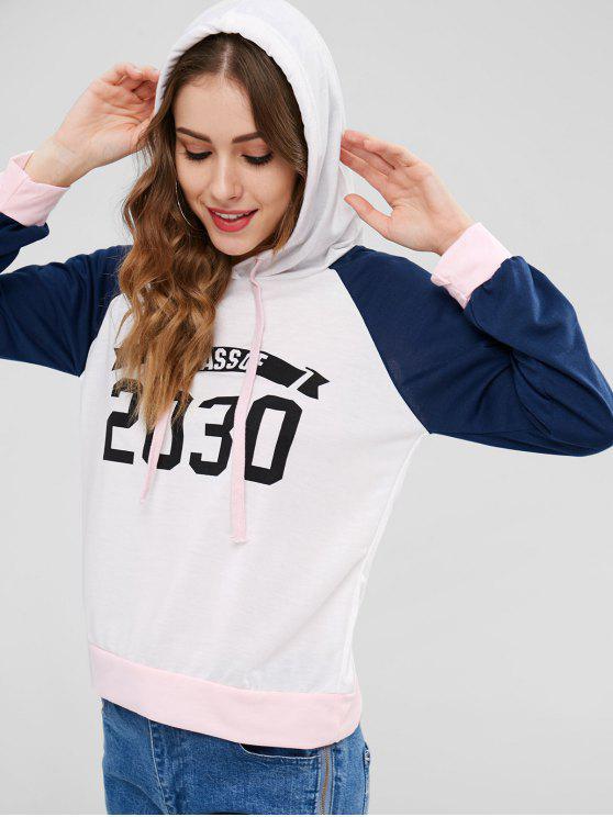 sale Raglan Sleeves Number Graphic Hoodie - WHITE L