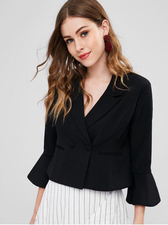 chic Welt Pocket Bell Sleeve Blazer - BLACK L