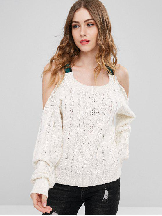 women Cable Knit Ribbons Cold Shoulder Sweater - CRYSTAL CREAM ONE SIZE