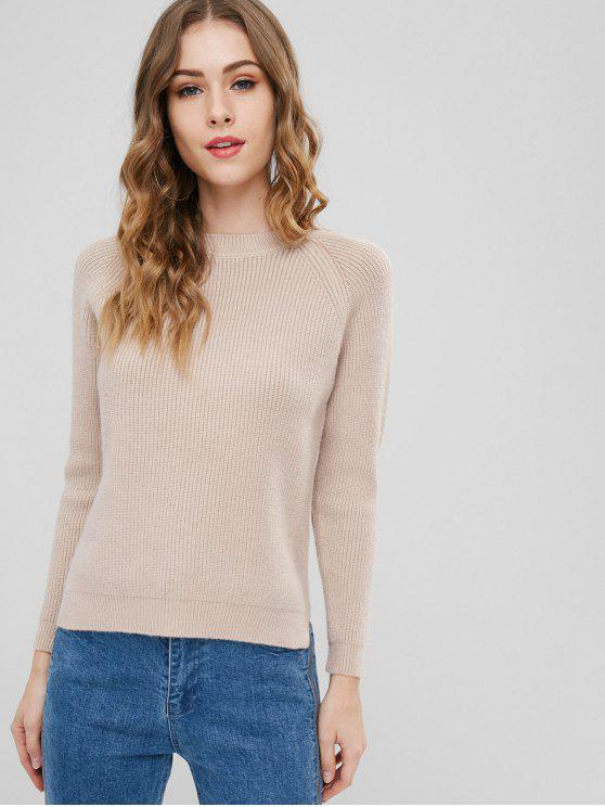 outfit Plain Slit High Low Sweater - APRICOT ONE SIZE