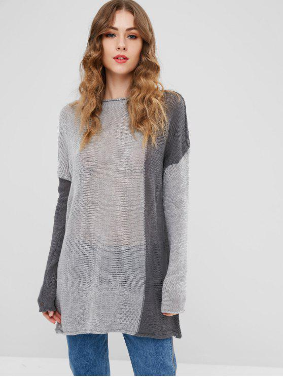 latest Semi Sheer Drop Shoulder Sweater - GRAY ONE SIZE