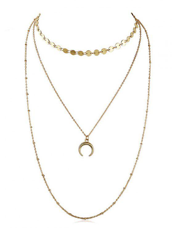 Layered Crescent Moon Kette Halskette - Gold