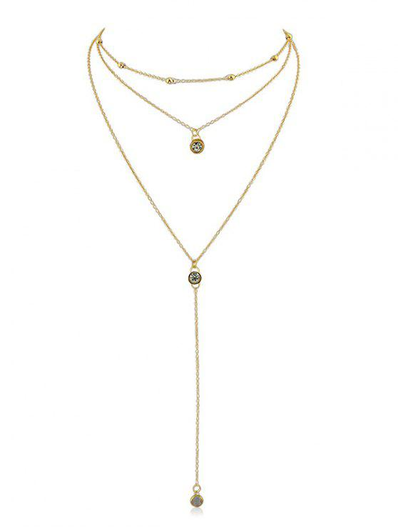 sale Rhinestone Layer Pendant Chain Necklace - GOLD