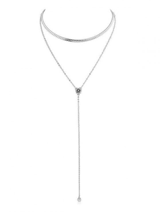 womens Double Layer Artificial Crystal Chain Necklace - SILVER