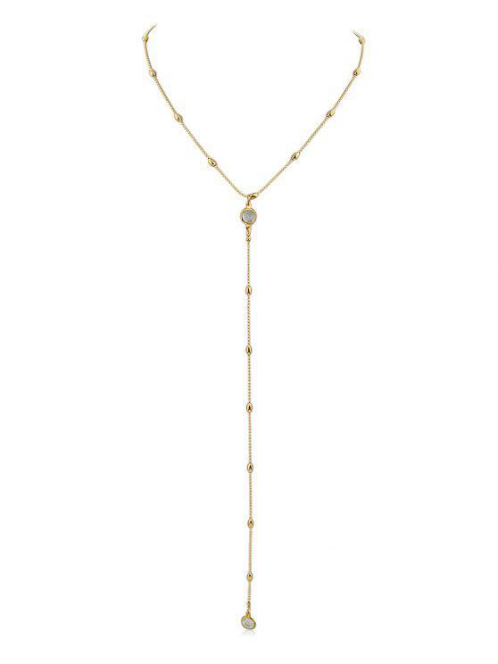 Y Shaped Perlen Kette Anhänger Halskette - Gold