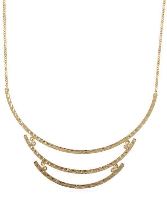 Einfache gebogene Streifenkette Halskette - Gold