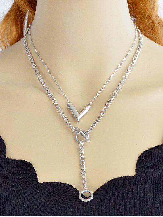 Runde Design Layer Kette Halskette - Silber