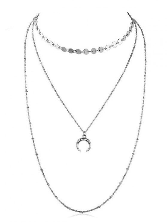 Layered Crescent Moon Kette Halskette - Silber