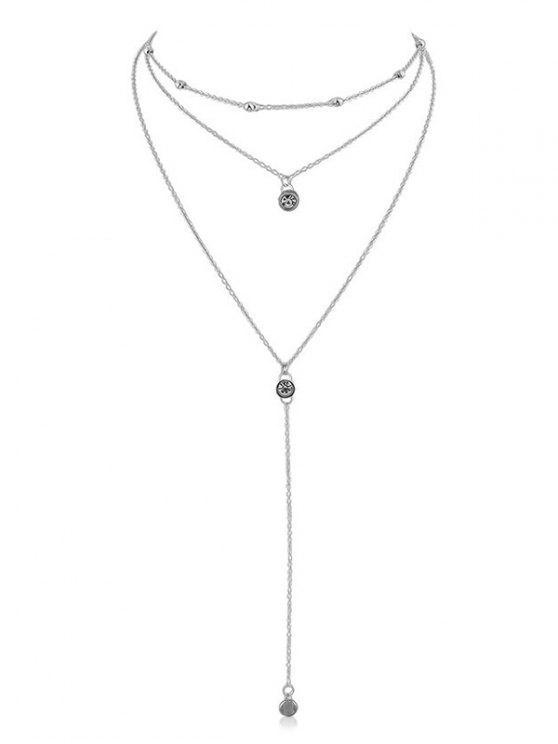 Strass Layer Anhänger Kette Halskette - Silber