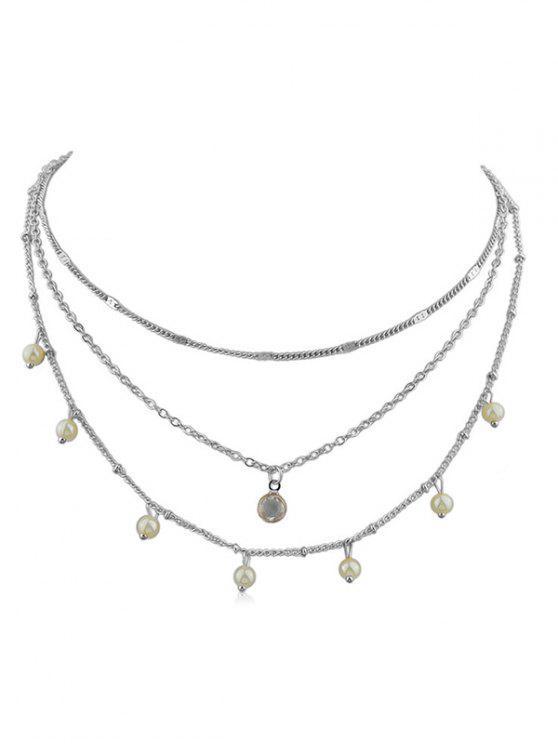 人造珍珠層鏈項鍊 - 銀