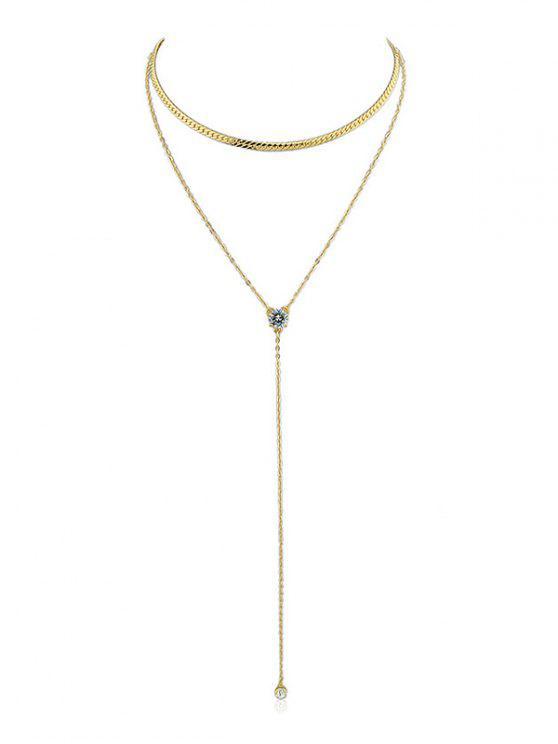 Doppelschicht Künstliche Kristallkette Halskette - Gold