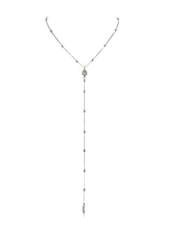 Collier pendentif en forme de perles en forme de Y - Argent