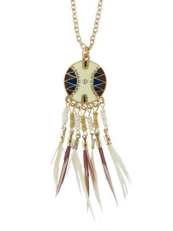 Perlenfeder Fringe Anhänger Halskette - Weiß