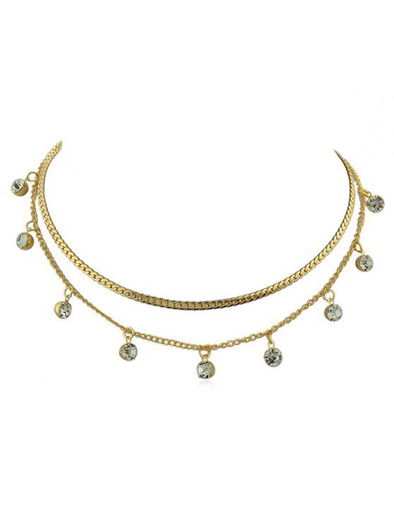 trendy Alloy Layered Chain Rhinestone Necklace - GOLD
