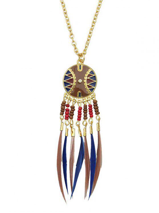 Perlenfeder Fringe Anhänger Halskette - Kadettenblau