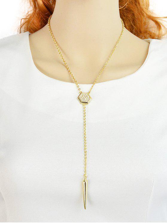 Kette Geometrische Strass Anhänger Halskette - Gold