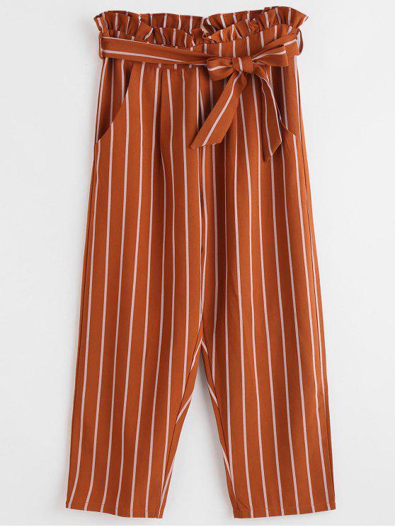 Pantalon Rayé Droit à Volants - Brun Clair L