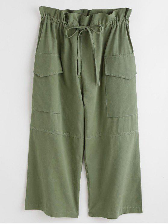Calças de bolso com cordão - Verde de Fern  Um Tamanho