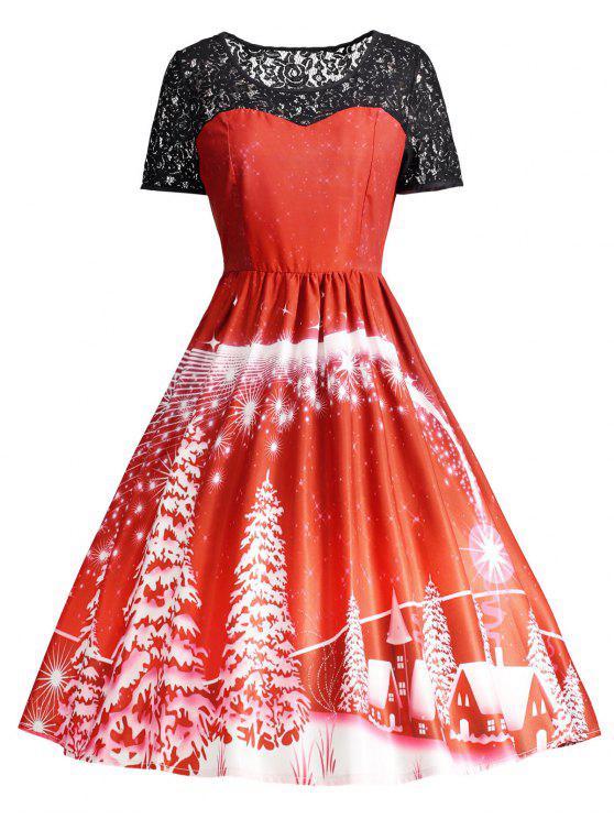 Print Lace Panel Vintage Party Dress - Vermelho M