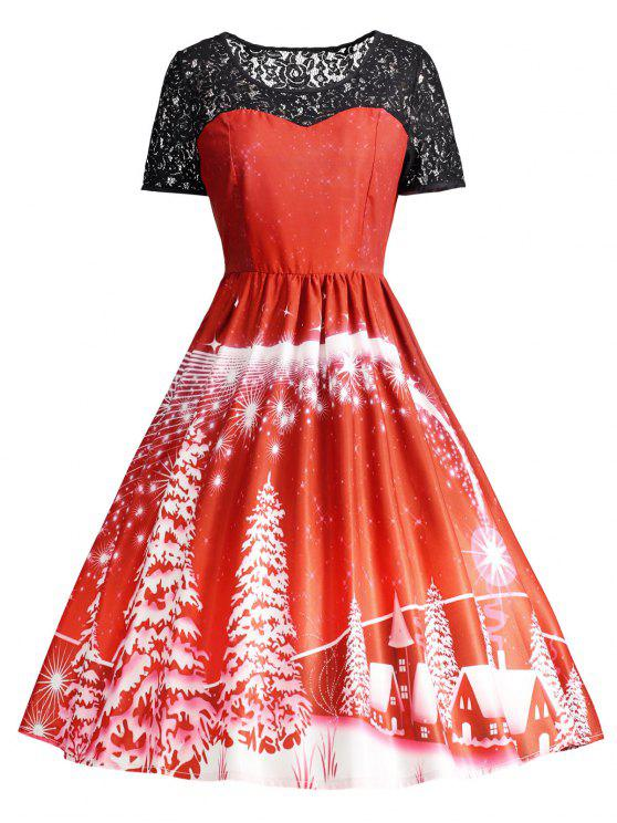 Print Lace Panel Vintage Party Dress - Vermelho 2XL