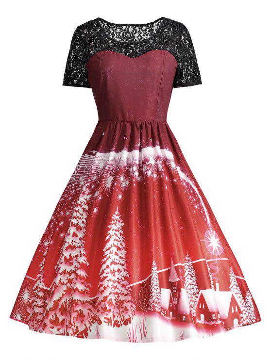 Print Lace Panel Vintage Party Dress - Vermelho Escuro L