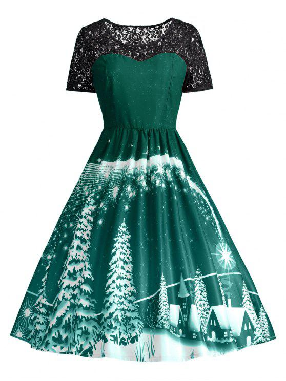 online Print Lace Panel Vintage Party Dress - GREEN M