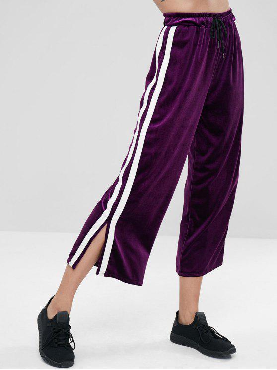 sale Side Split Stripe Velvet Wide Leg Pants - PURPLE L