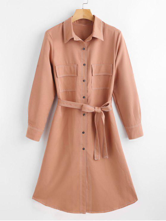 womens Belted Midi Shirt Dress - ORANGE SALMON L