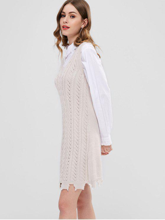 Rasgado Hem Cable Knit Sweater Dress - Bege Um Tamanho