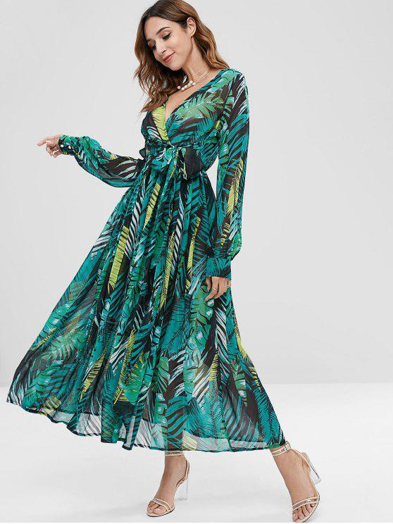 fancy Palm Belted Surplice Maxi Dress - MEDIUM FOREST GREEN XL