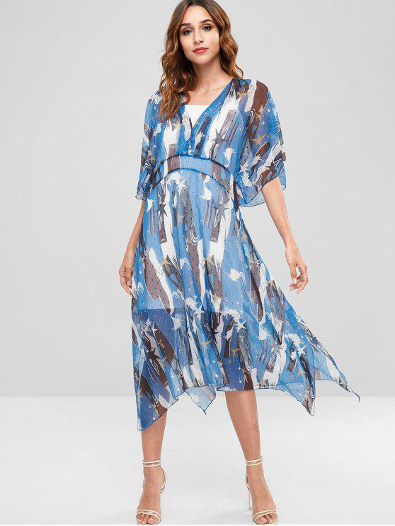 women Kaftan Printed Mesh Dress with Slip Dress - BLUE ORCHID L