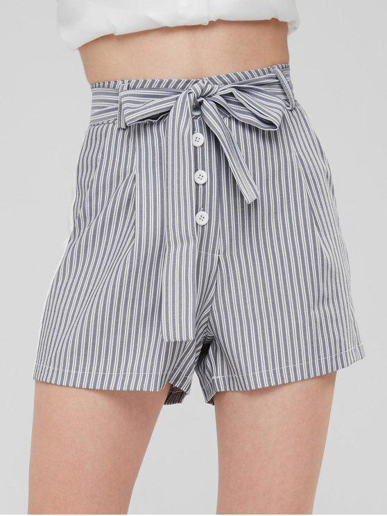outfits Striped Pockets High Waisted Belted Shorts - GRAY L