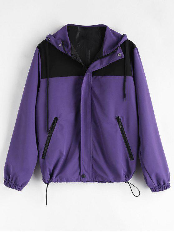outfit Letter Color Block Jacket - PURPLE M