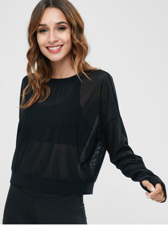 See Through Drop Shoulder T Shirt With Armhole   Black S by Zaful