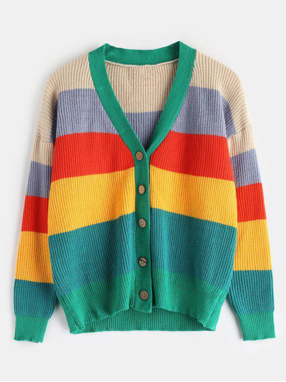 Casaco de lã com botões multicoloridos - Multi Tamanho único