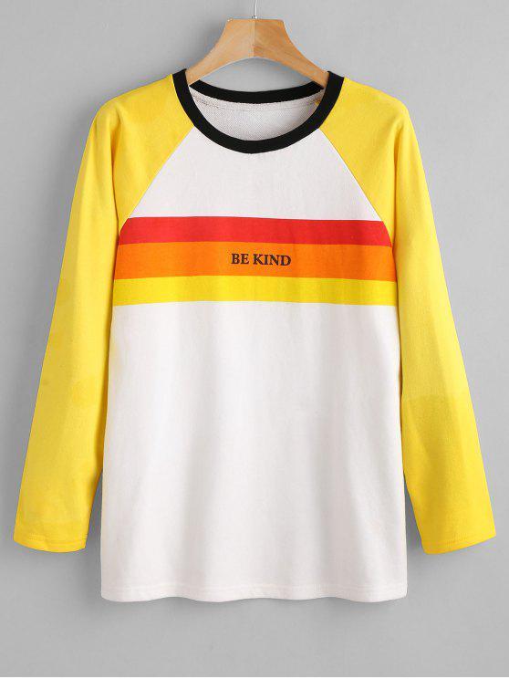 outfits ZAFUL Raglan Sleeve Graphic Striped Sweatshirt - MULTI S