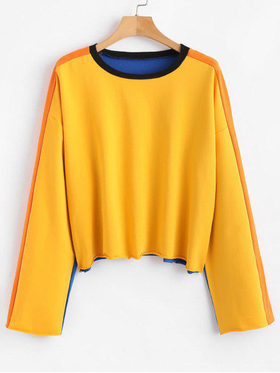 shop ZAFUL Color Block Sweatshirt - MULTI S