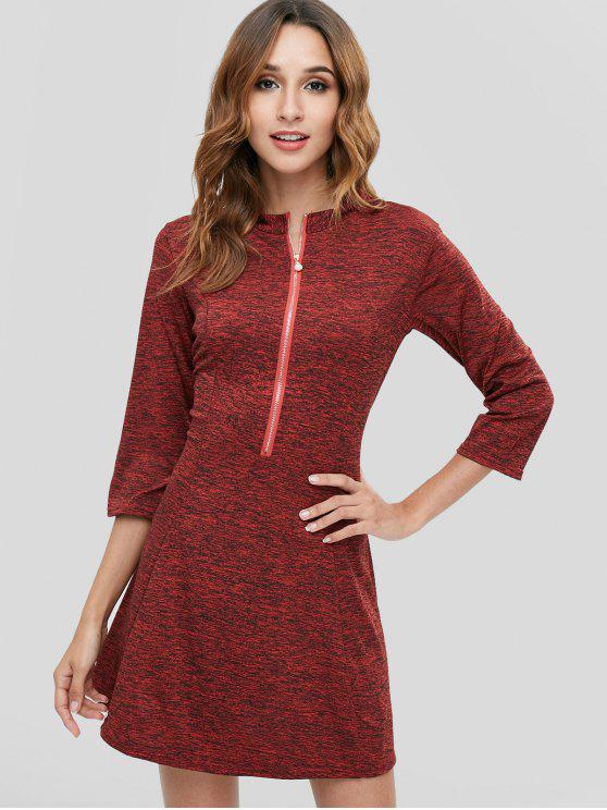 latest Space Dye Zip Casual Tee Dress - RED WINE L