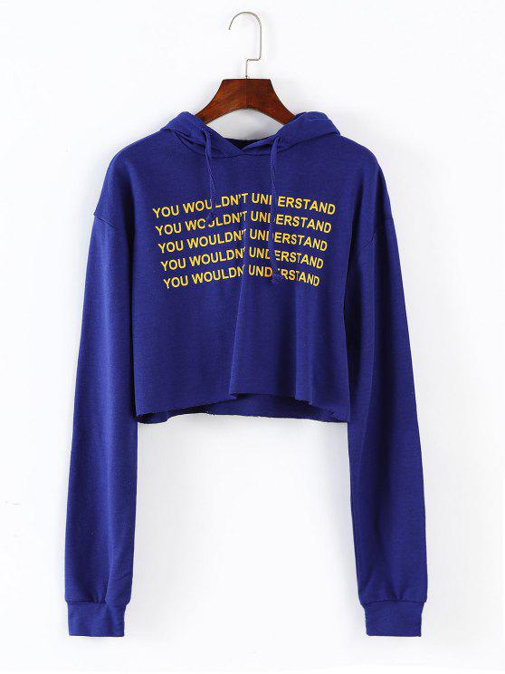 fancy Letter Print Drop Shoulder Hoodie - BLUE M