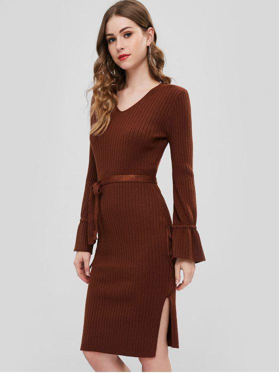 online Slit Flare Sleeve Sweater Dress - COFFEE ONE SIZE